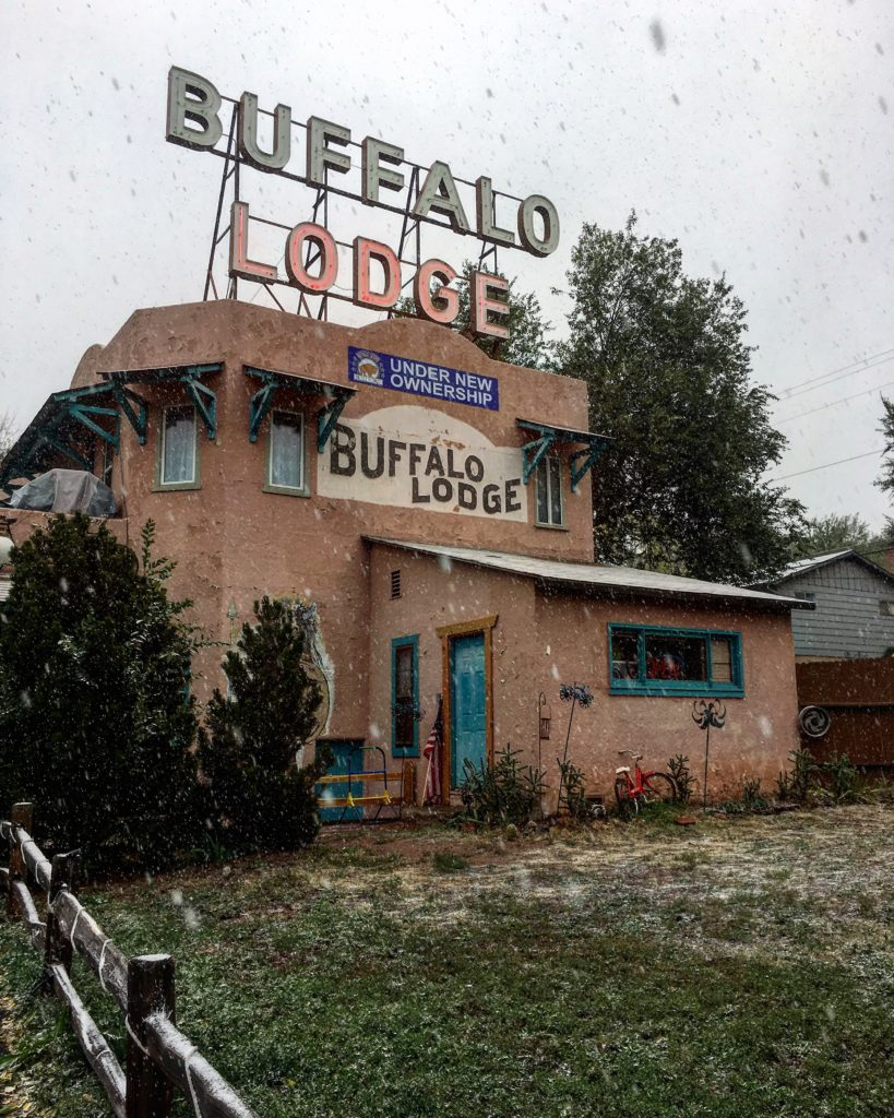 Buffalo Lodge Bicycle Resort Front with Snow, Manitou Springs Colorado 2017
